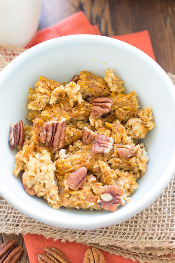 pumpkin baked oatmeal in a bowl with pecans