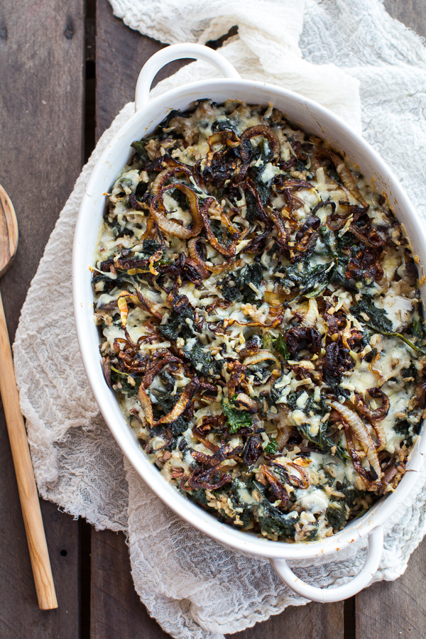 Kale and wild rice casserole