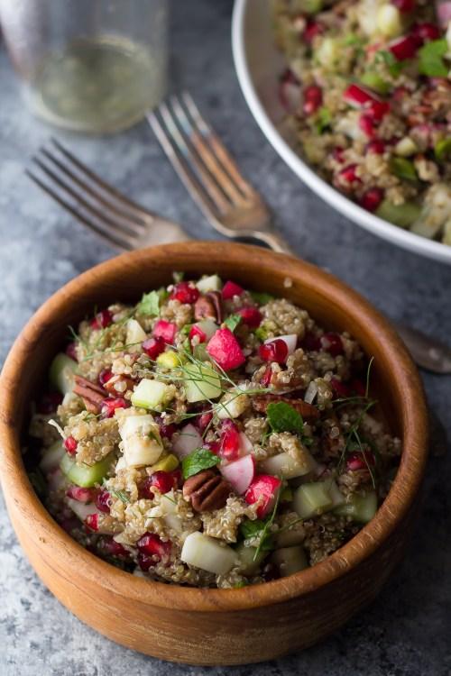 Pomegrante fennel quinoa salad.