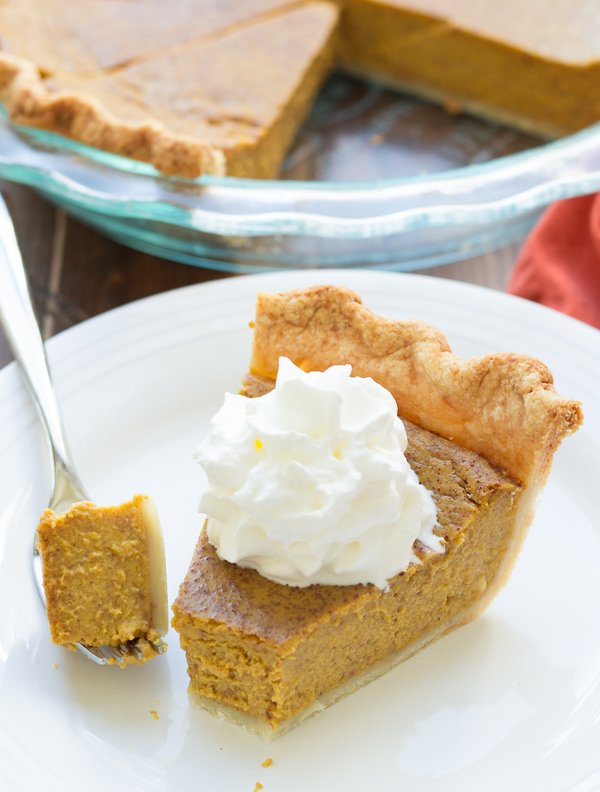 This is THE recipe for Classic Pumpkin Pie. 30 minutes prep, easy no-chill pie crust, and lots of pumpkin and spice flavors! The perfect pie for your Thanksgiving or holiday meal!