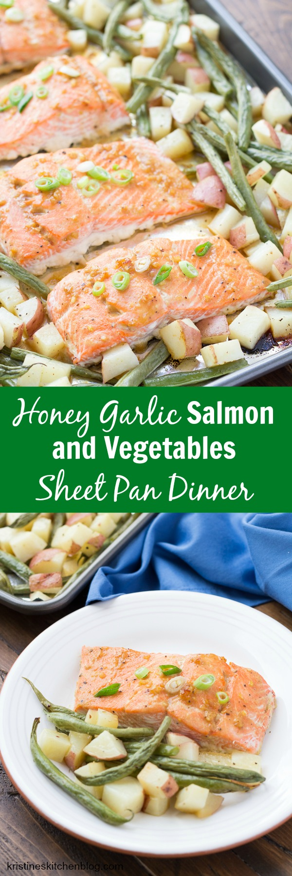 30 Minute Honey Garlic Salmon and Vegetables Sheet Pan Dinner. An easy one-pan weeknight meal that you can customize to your liking!