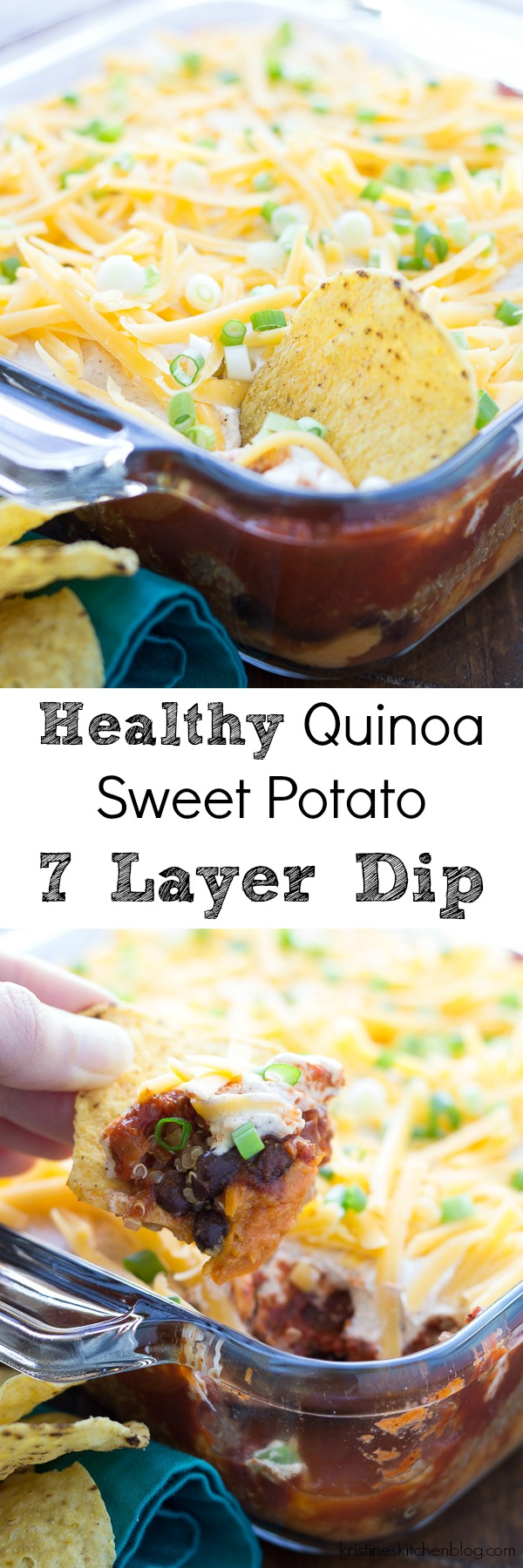 We love this Healthy Quinoa and Sweet Potato 7 Layer Dip (with black beans) for an appetizer or dinner! Make it for game day or your next party!