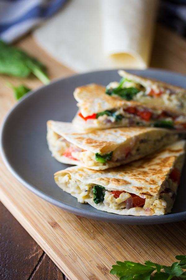 Spinach Feta Breakfast Quesadillas