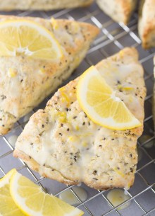 lemon cream scones on a cooling rack