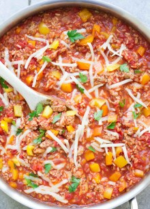 This Unstuffed Bell Pepper Skillet is a healthy one pot dinner made with ground turkey and brown rice. This recipe is my kids' favorite!