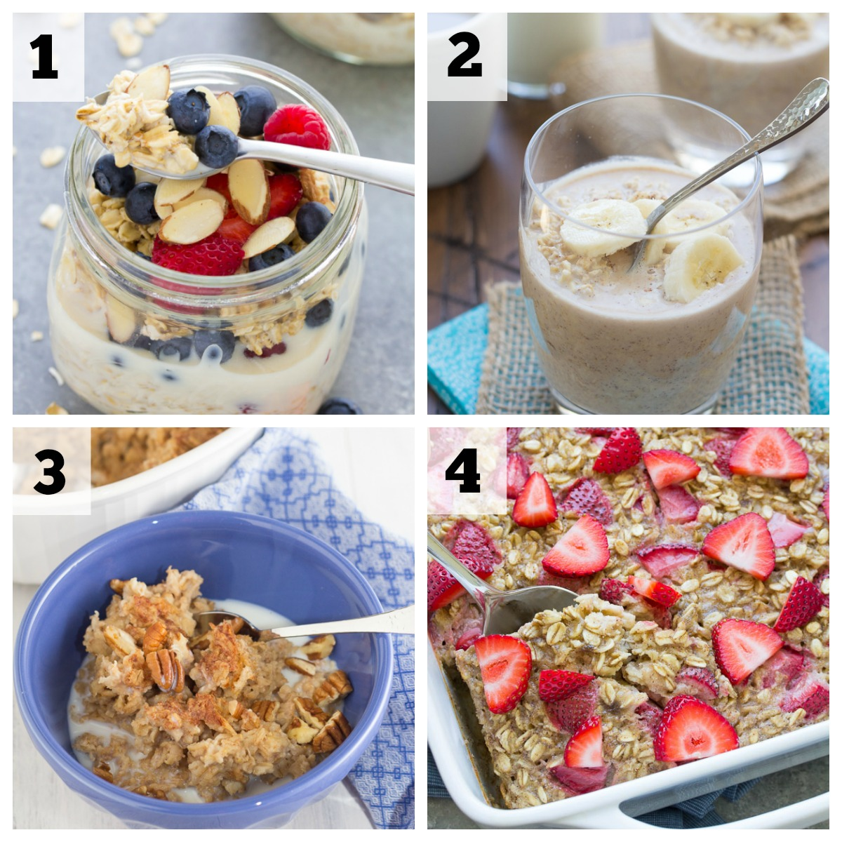 collage of breakfast oatmeal recipes