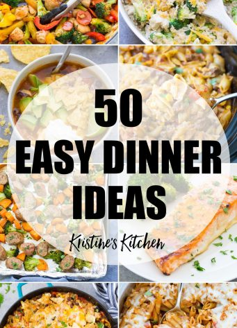collage of 50 easy dinner ideas