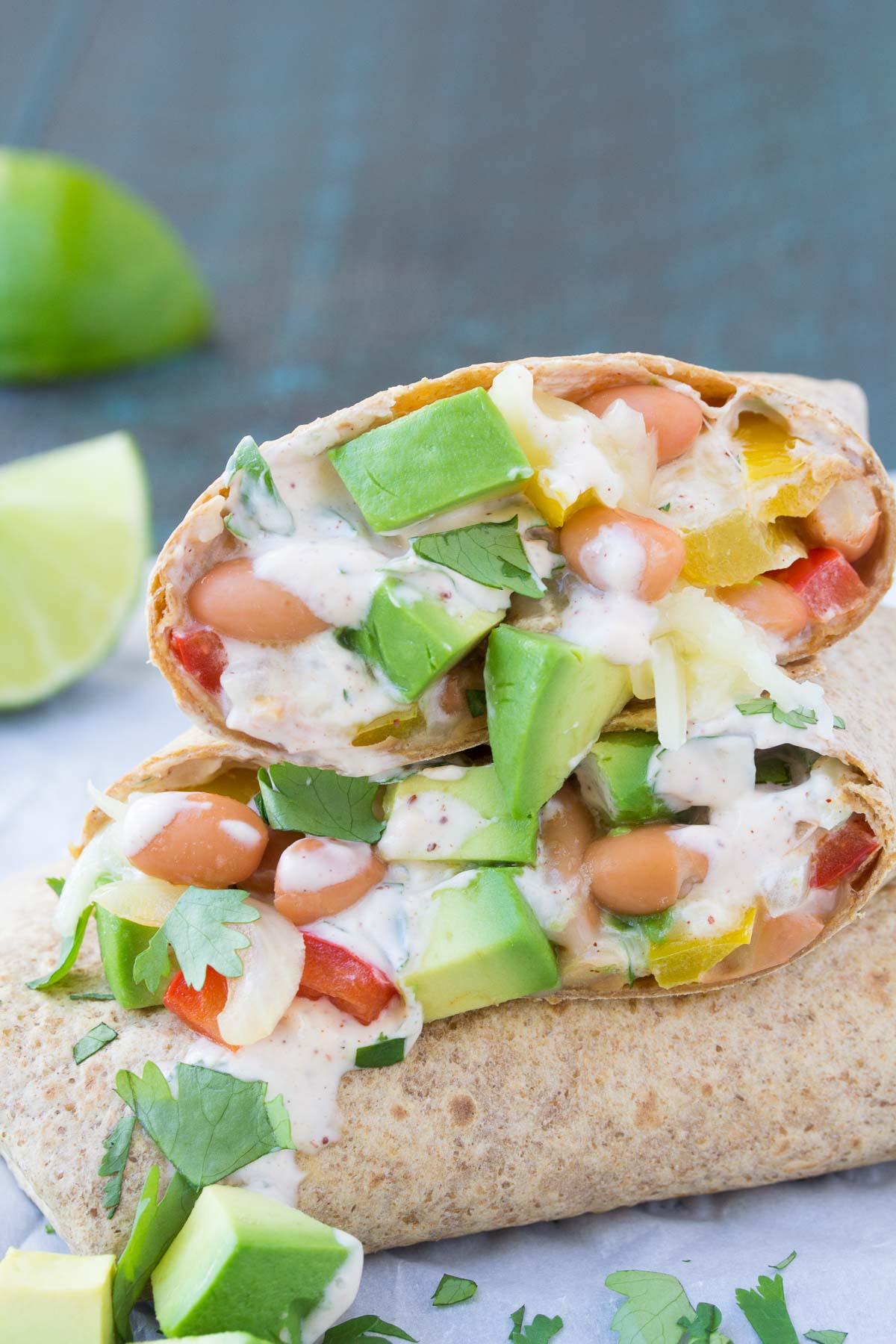avocado vegetarian burrito with creamy sauce