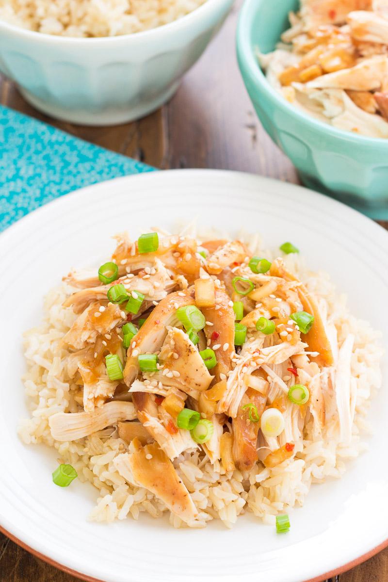 honey sesame chicken served over rice