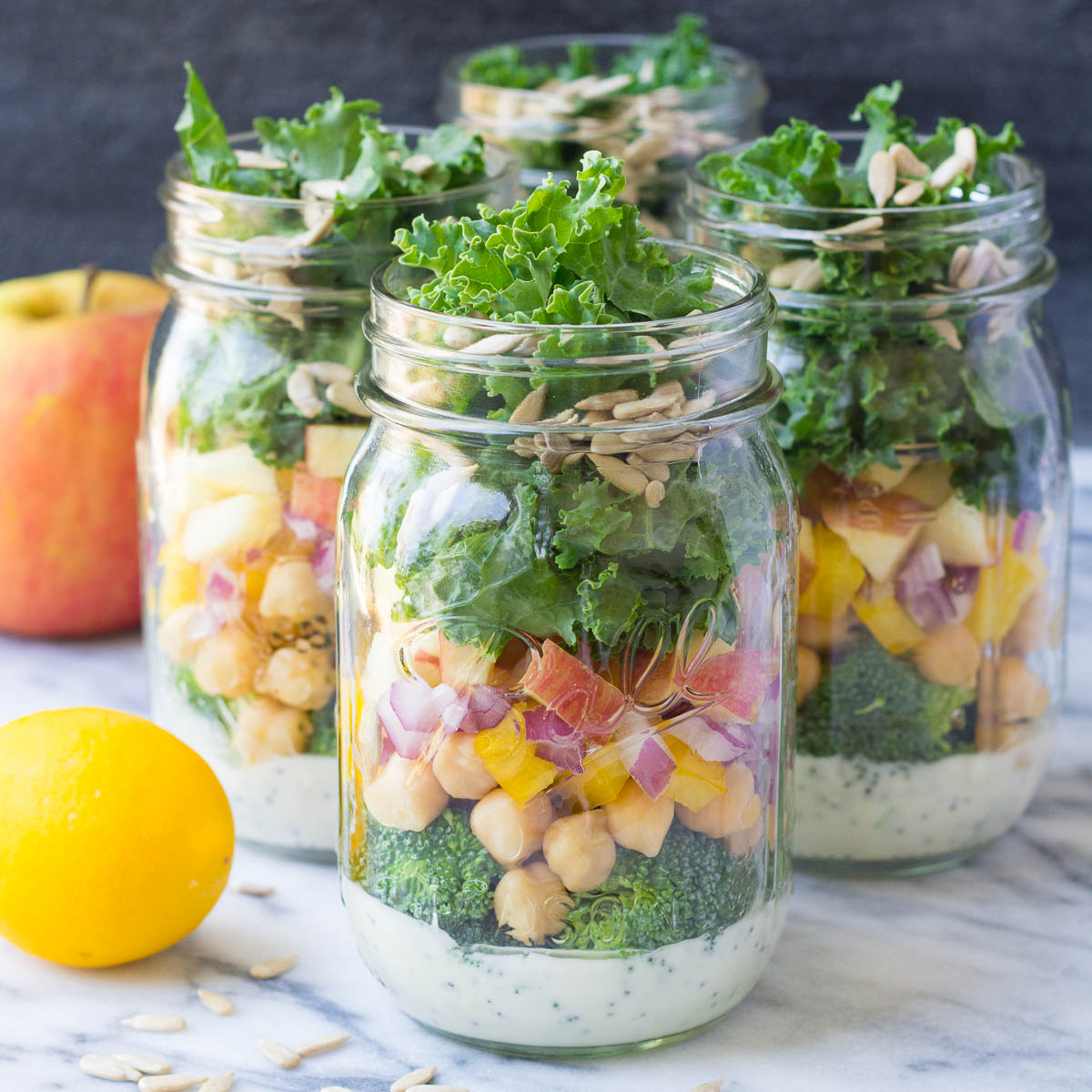 colorful picture of mason jar salads