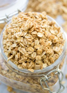 This simple homemade granola is deliciously crunchy! We make this 4-Ingredient Easy Granola Recipe almost every week! | www.kristineskitchenblog.com