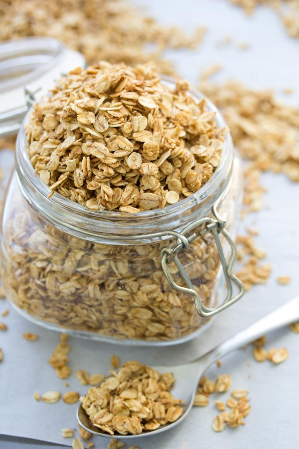 homemade granola recipe in a mason jar