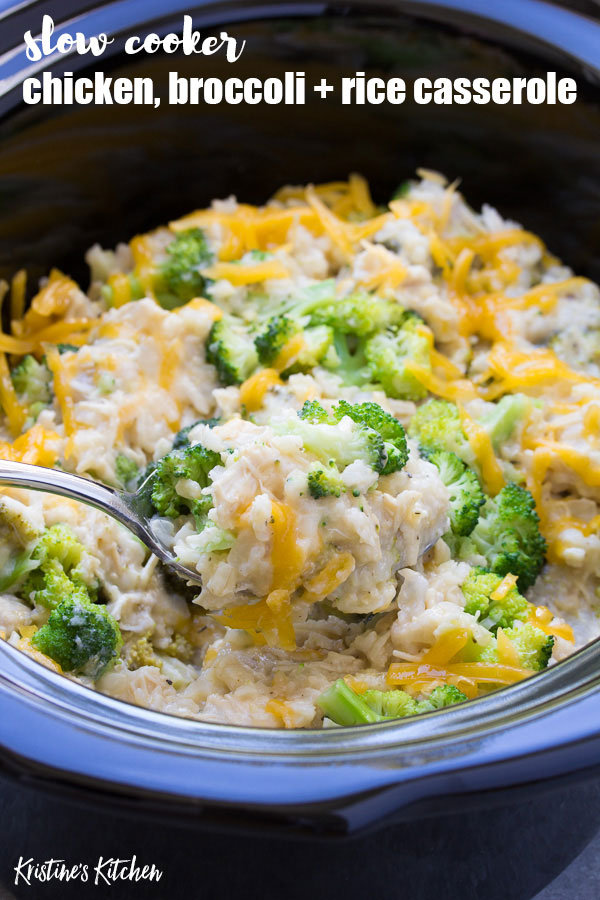 Slow Cooker Chicken Broccoli Rice Casserole is a quick prep dinner idea! This healthy cheesy casserole is a make ahead meal!