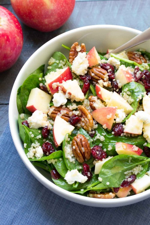 Spinach and Quinoa Salad with Apple and Pecans.
