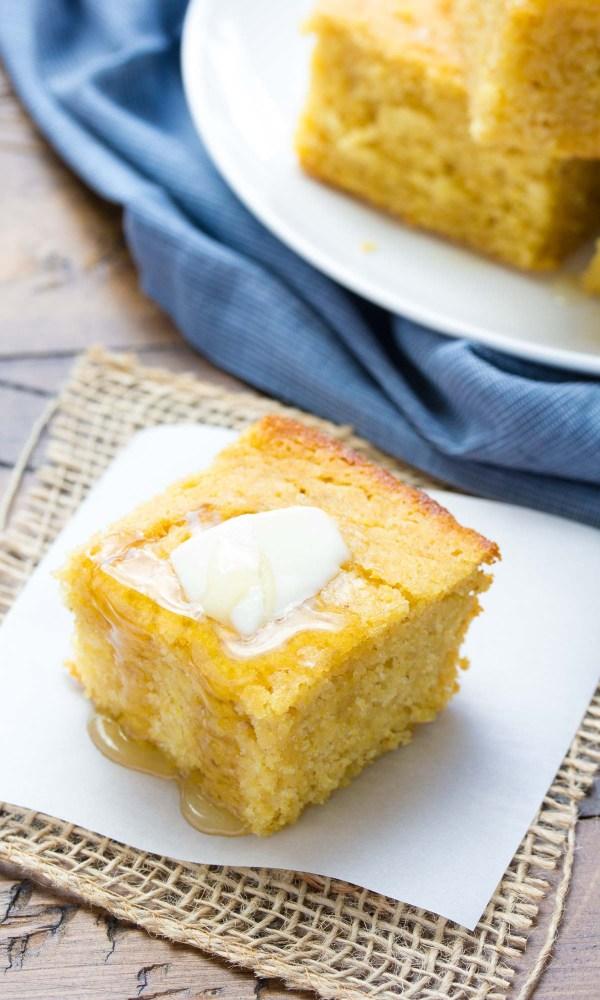 Sweet Honey Cornbread! Whole grain and SO EASY to make! | www.kristineskitchenblog.com