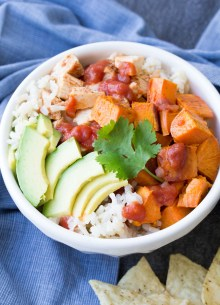 Easy Taco Chicken and Sweet Potato Burrito Bowls. Make these with leftover slow cooker taco chicken for a quick lunch or dinner! | www.kristineskitchenblog.com