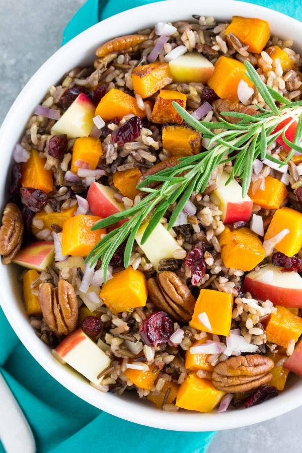 Wild rice salad with butternut squash, apple and pecans.