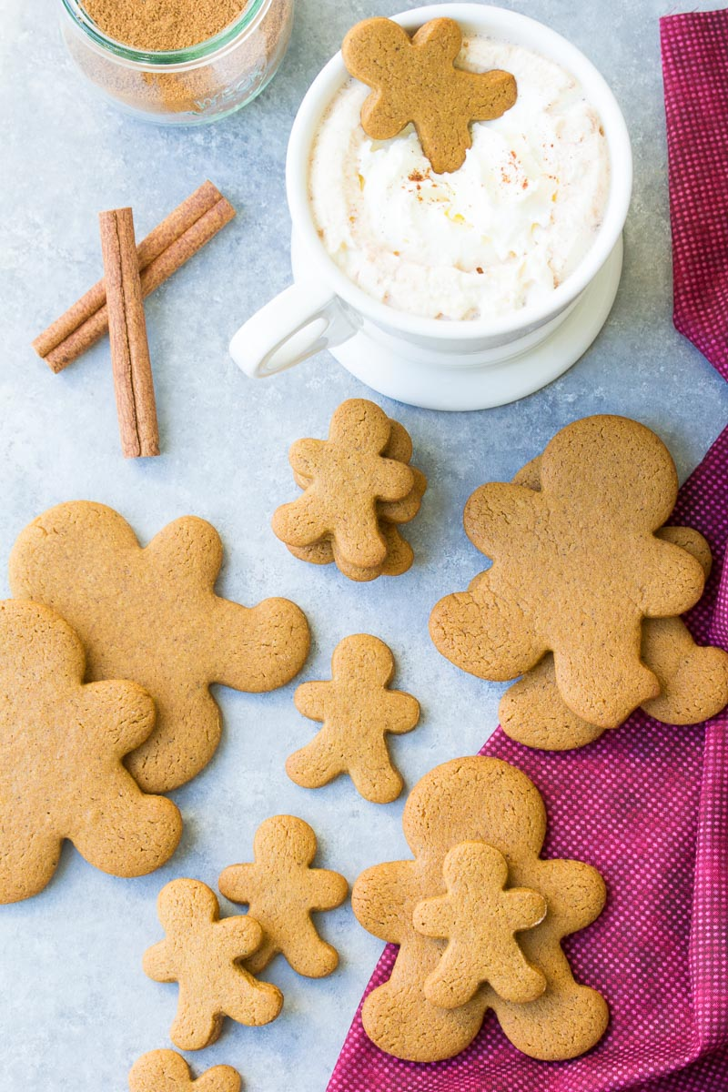 gingerbread cookies with a mug of hot chocolate