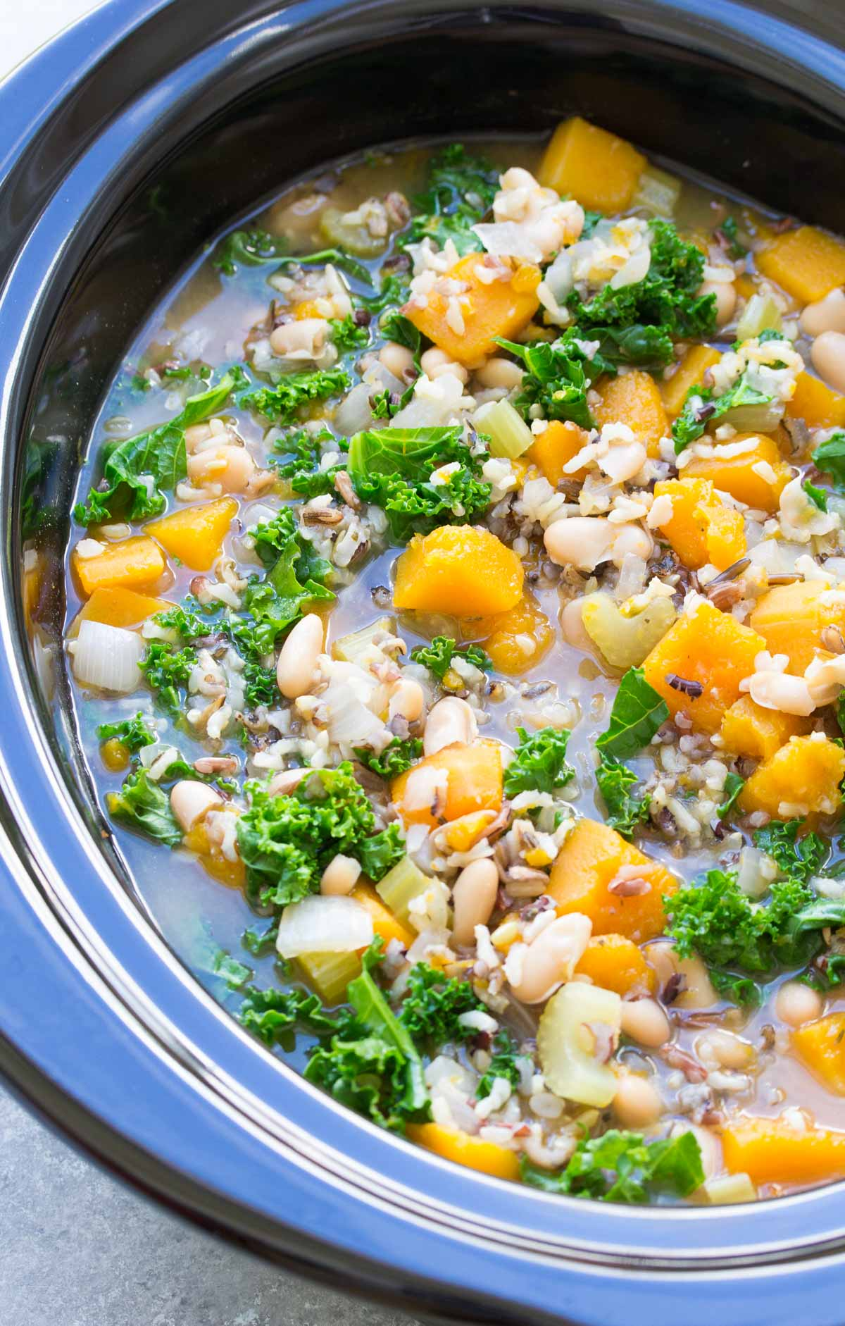 finished wild rice soup in crockpot