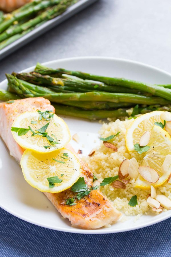 Sheet Pan Lemon Garlic Salmon and Asparagus, ready in 30 minutes! A healthy, easy dinner recipe! | www.kristineskitchenblog.com