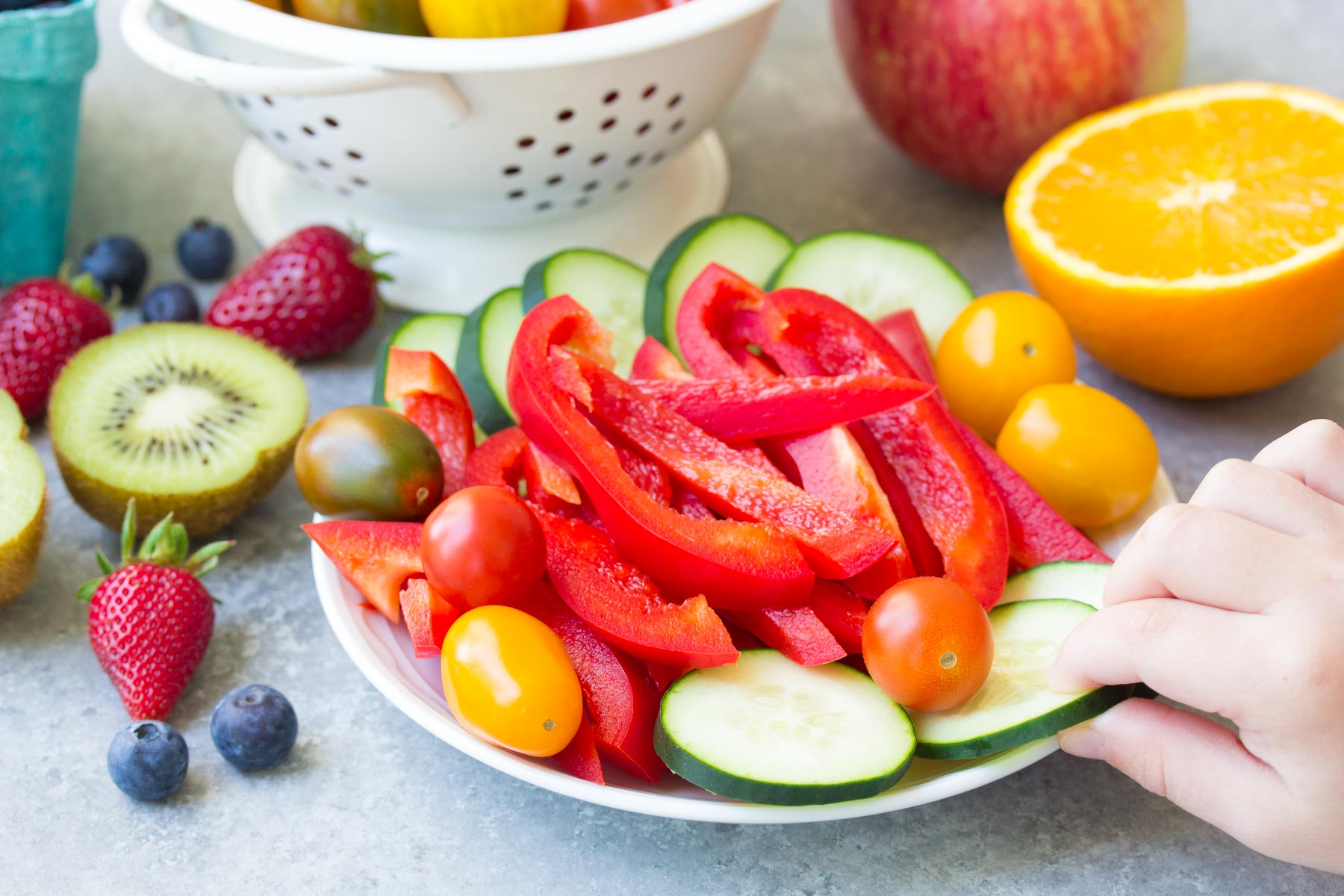 A veggie plate - offer fresh vegetables when the kids are hungry right before dinner.