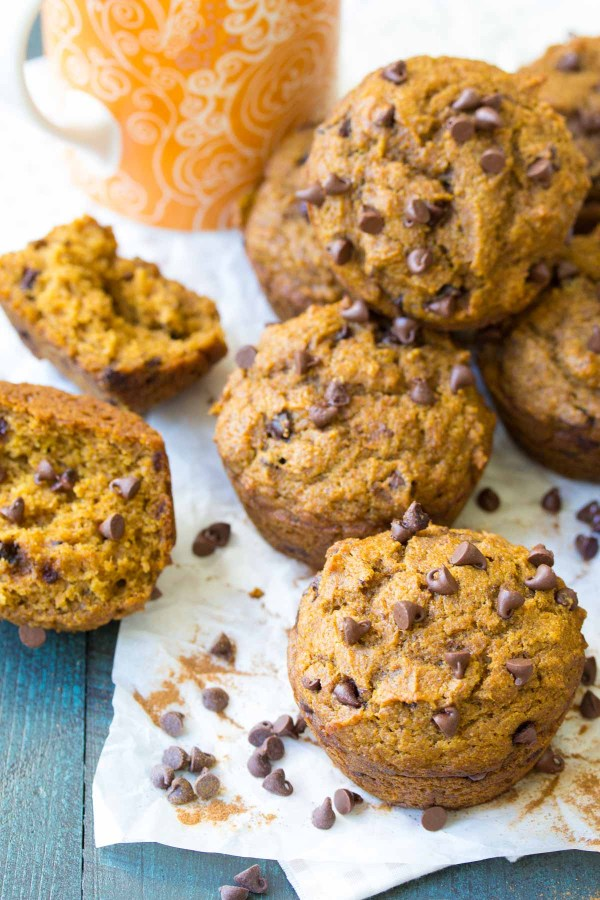 The BEST Pumpkin Chocolate Chip Muffins are so easy to make in one bowl! These healthy muffins are soft and filled with pumpkin pie spice! Dairy free and vegan options.