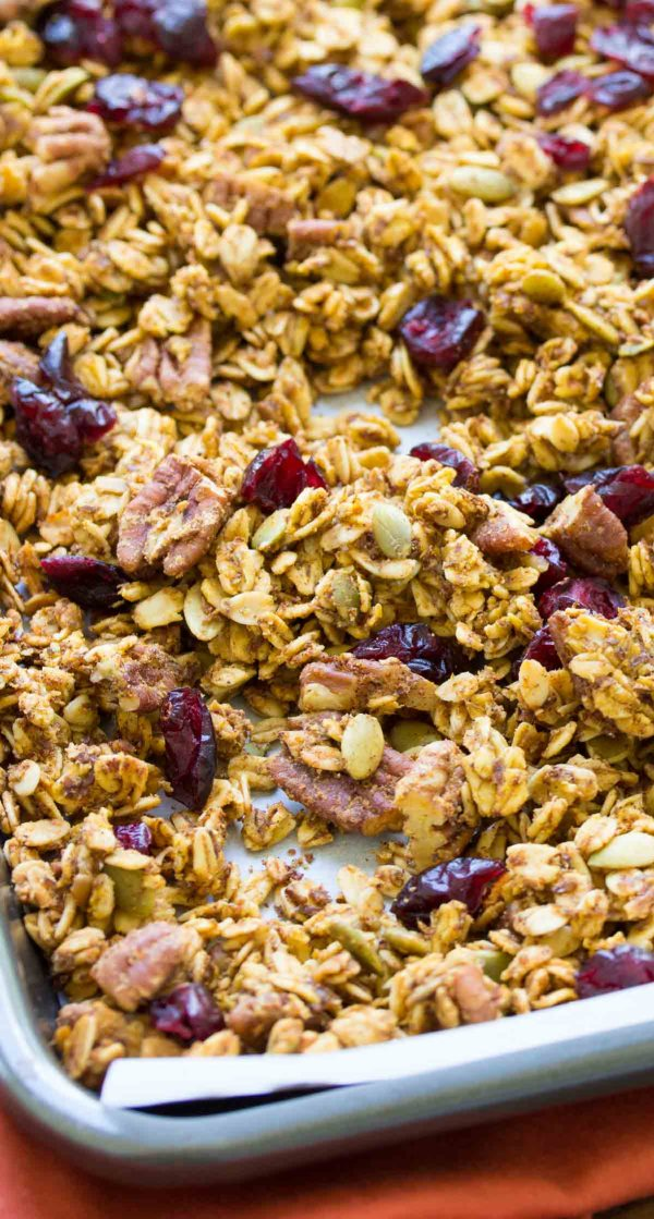 Pumpkin Spice Granola on a baking sheet just out of the oven