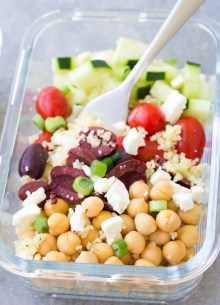 Meal Prep Chickpea Salad with fork