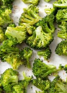 roasted broccoli on baking sheet