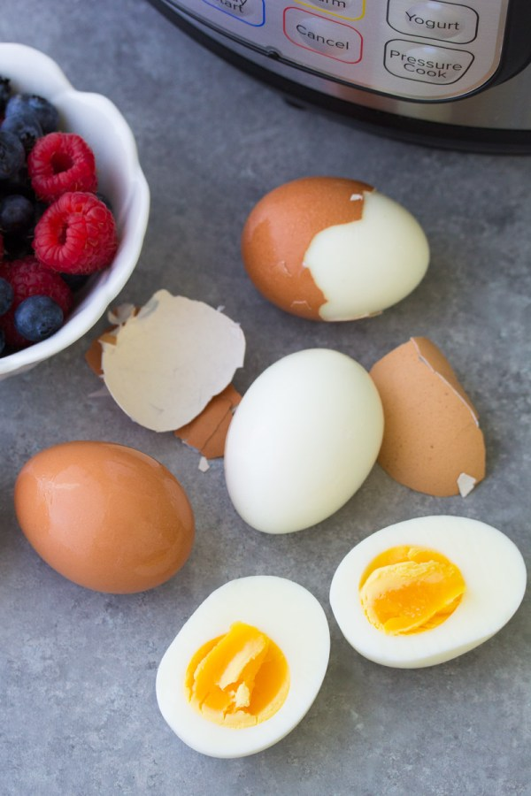 Soft boiled eggs cooked in an Instant Pot.