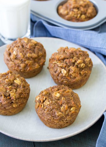 health carrot cake muffins on a plate