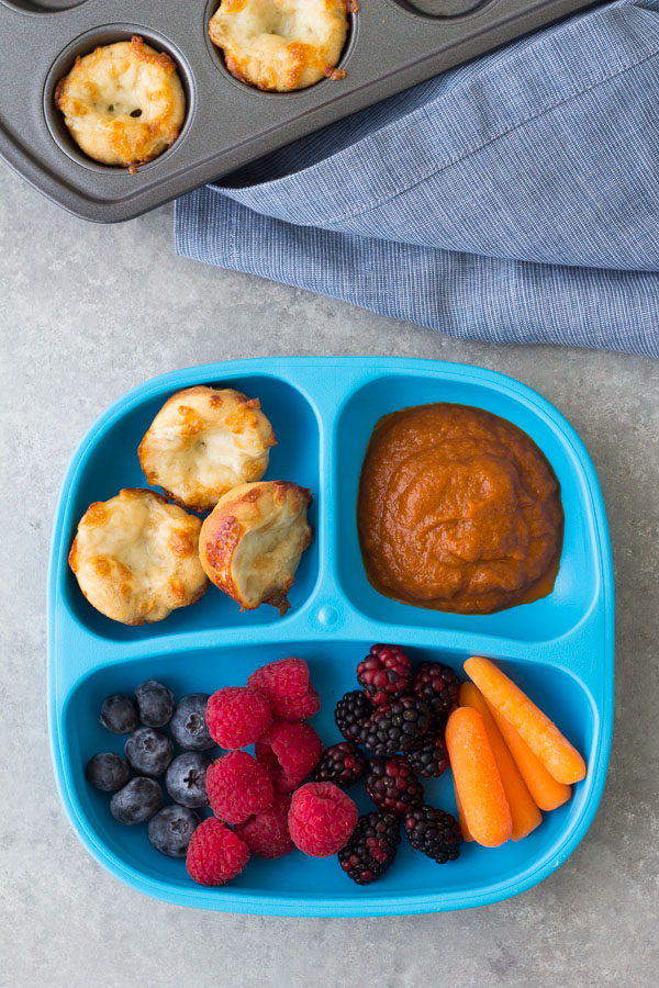 Kids lunch plate with mini pizza bites and hidden veggie pizza sauce. These Cheese Pizza Bites are a healthy lunch or snack for kids. Serve them with pizza sauce for dipping! This easy cheese pizza bites recipe is made with a quick no rise whole wheat pizza dough and mozzarella cheese.