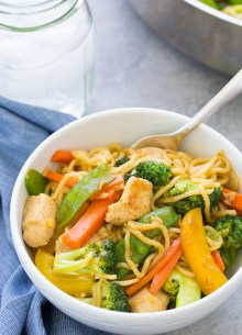 These Teriyaki Chicken and Veggie Noodle Bowls are a one pot dinner that the whole family will love! A slightly sweet, refined sugar-free homemade teriyaki sauce makes vegetables more appealing! Meal prep the ingredients ahead of time to help get dinner on the table faster.