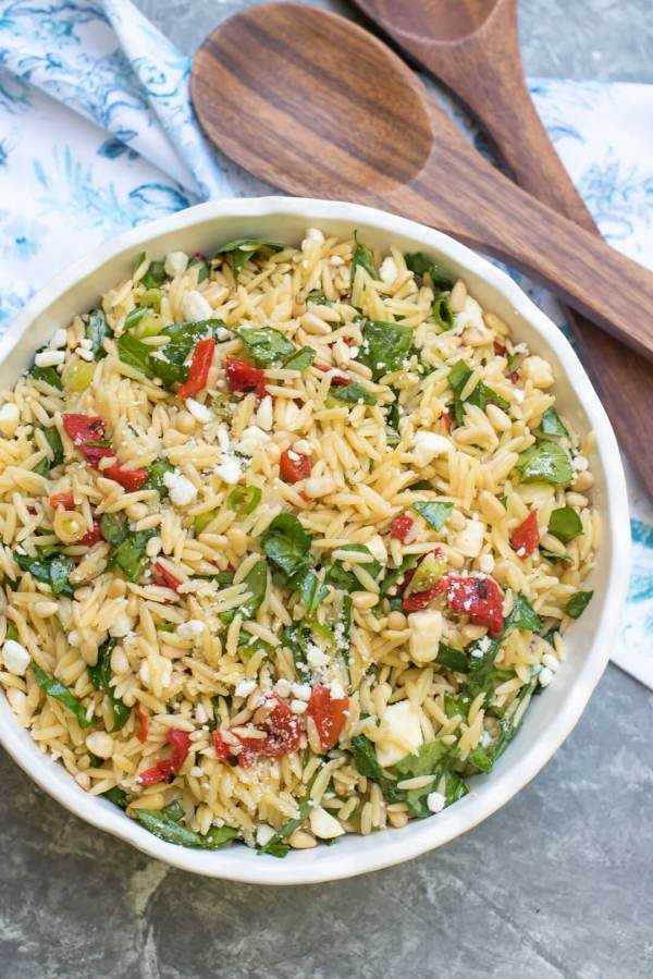 Orzo Salad with Roasted Red Peppers and Feta