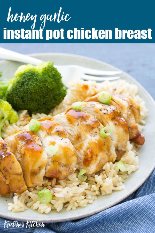 chicken on plate with honey garlic sauce over rice with side of broccoli
