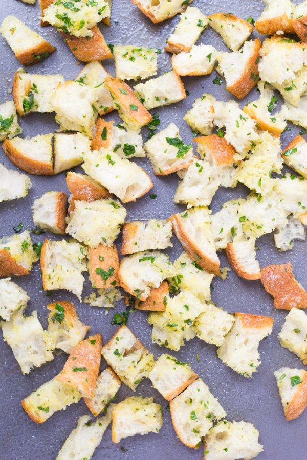 Croutons tossed with olive oil, garlic and herbs.