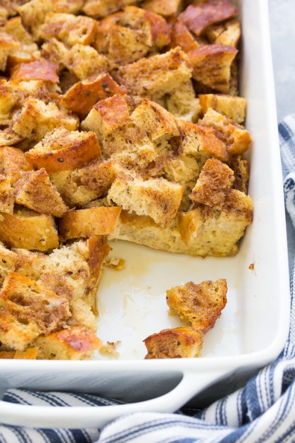 Overnight baked french toast casserole in a dish