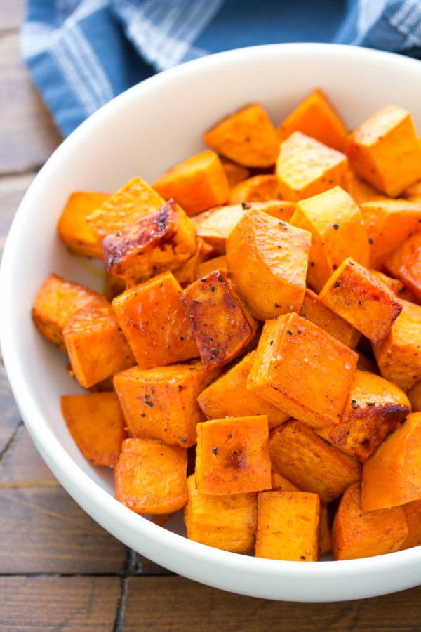 Honey roasted sweet potatoes in a bowl.