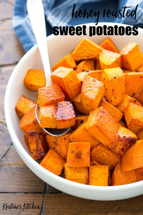 Honey roasted sweet potatoes on a spoon.