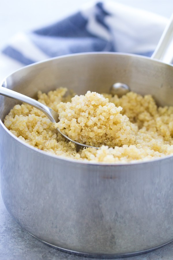 How to cook quinoa: fluffy cooked white quinoa in a pot.