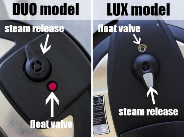 Instant Pot DUO and Instant Pot LUX model steam release valve and float valve.