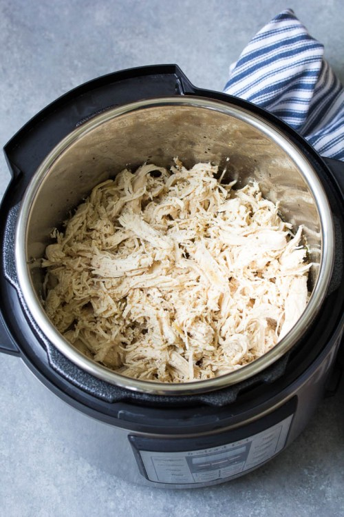Shredded chicken in the Instant Pot electric pressure cooker.