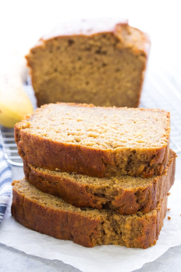 An easy recipe for healthy banana bread. Slices of banana bread ready for serving.