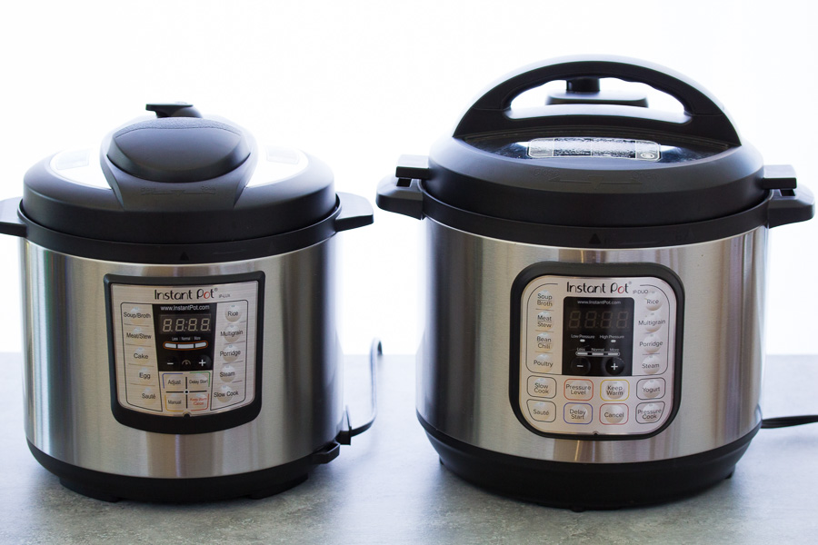 The 6 Quart Instant Pot Lux and 8 Quart Instant Pot Duo side by side. Best Instant Pots to Buy.