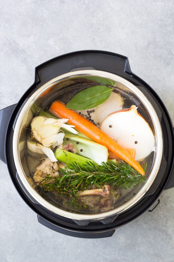 Ingredients for pressure cooker bone broth in an instant pot.