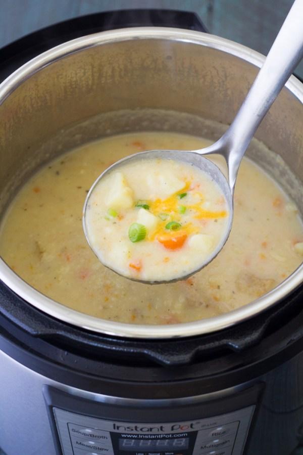 Homemade creamy potato soup in an Instant Pot.