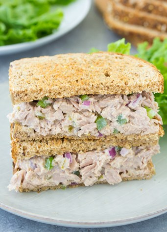 Classic tuna salad sandwich on toasted bread. The best easy tuna salad recipe!