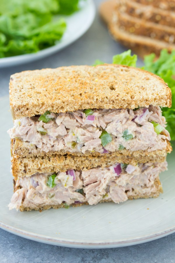 Classic tuna salad sandwich on toasted bread. The best easy tuna salad recipe!