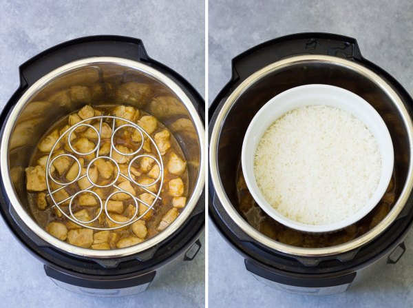 How to cook pot in pot orange chicken and rice in an instant pot.