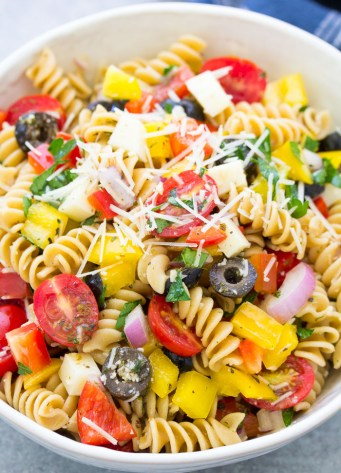 Close up of Italian Pasta Salad in a white bowl.